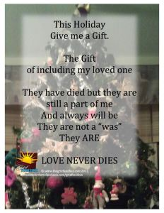 Christmas Tree with a 'Love Never Dies' Quote