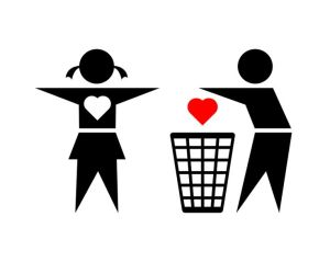 Cheating boy is throwing his girlfriend's loving heart into trash bin on white background