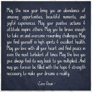Zero Dean New Year's Quote In White Lettering On A Black Background